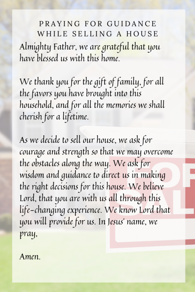 prayer for selling your house