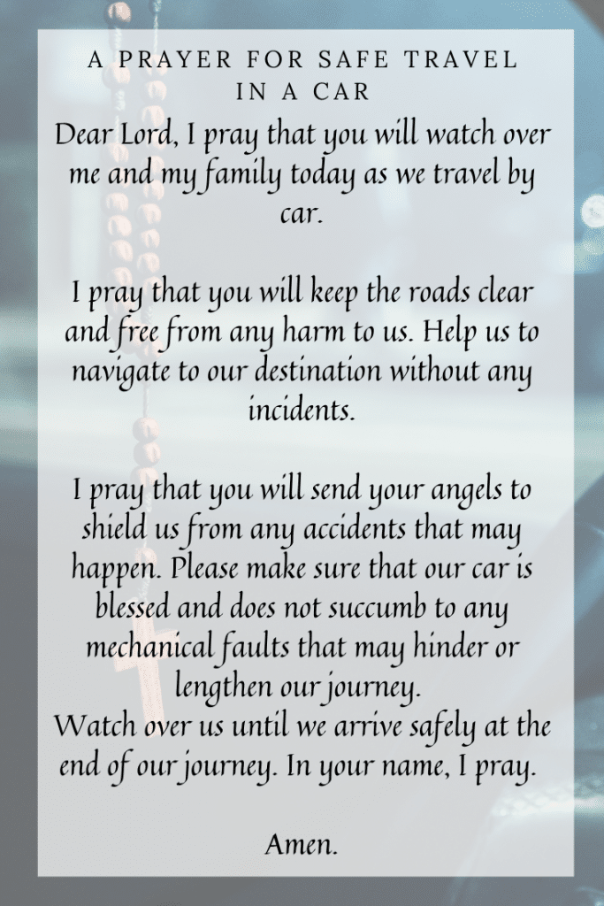 A Prayer for Safe Travel in a Car