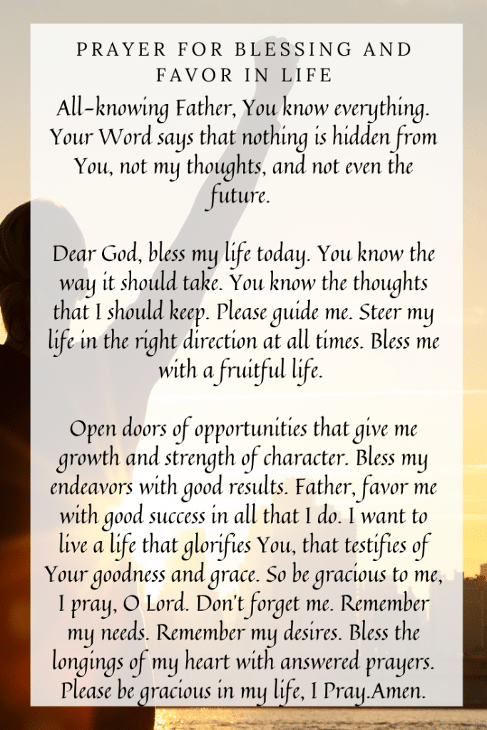 Prayer for Blessing and Favor in Life