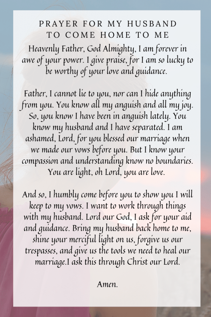 Prayer for My Husband to Come Home to Me