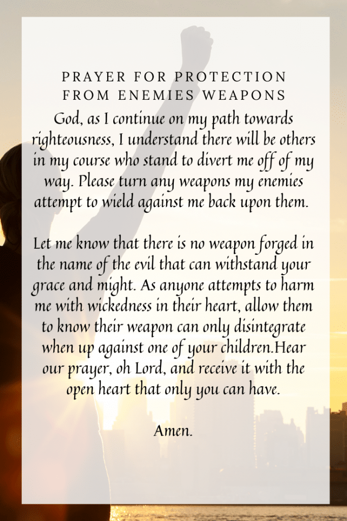 Prayer for protection from enemies weapons