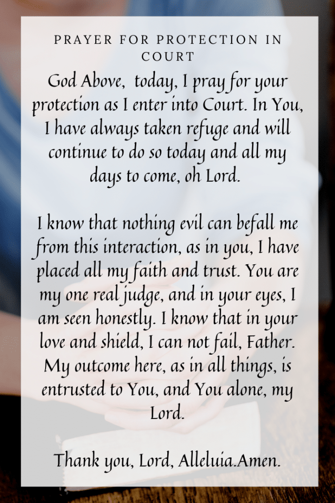 Prayer for protection in court