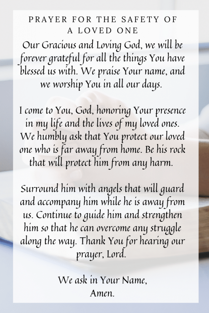 Prayer for the safety of a loved one