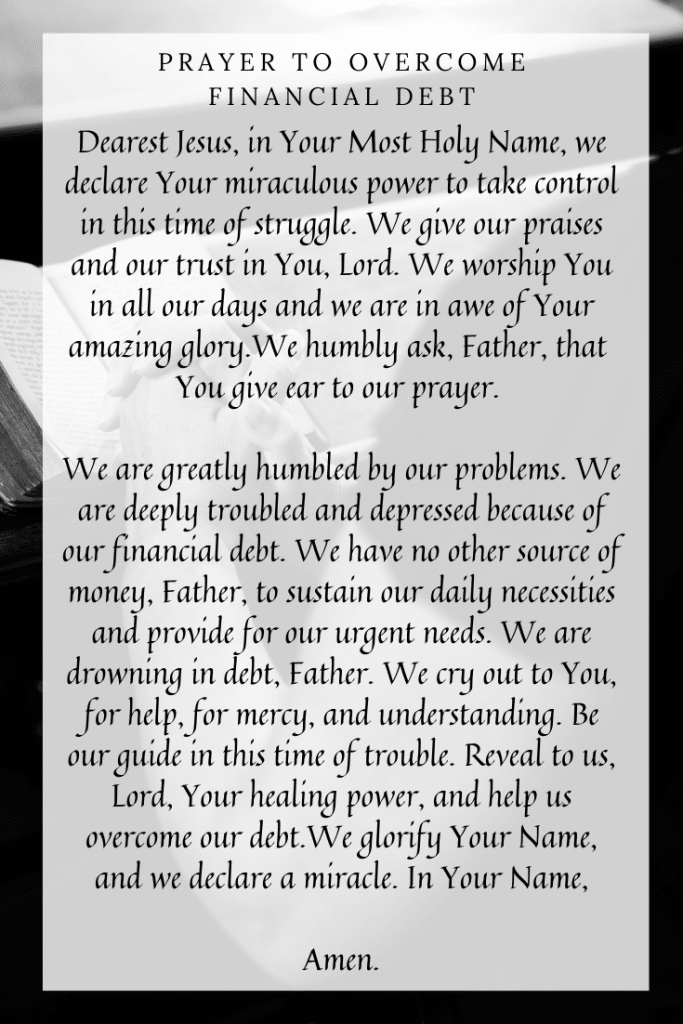 Prayer to Overcome Financial Debt