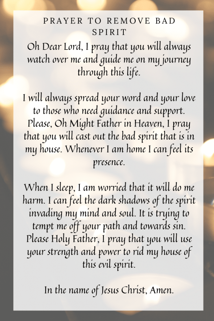 Prayer to Remove a Bad Spirit from Your House