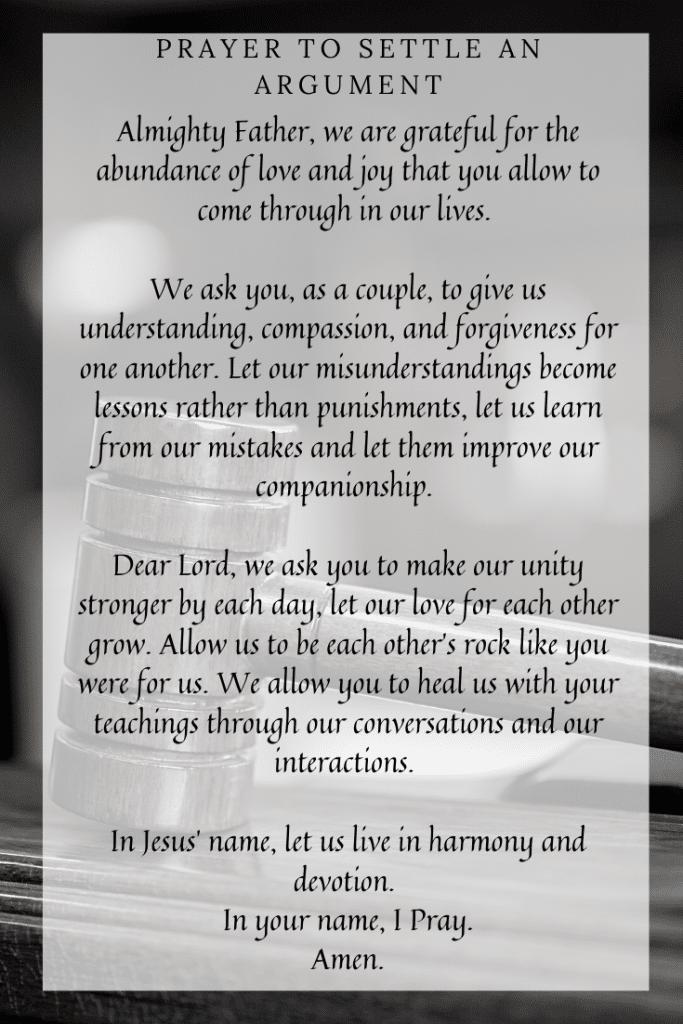 Prayer to Settle an Argument