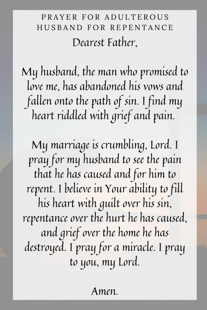 Prayer for Adulterous Husband for Repentance