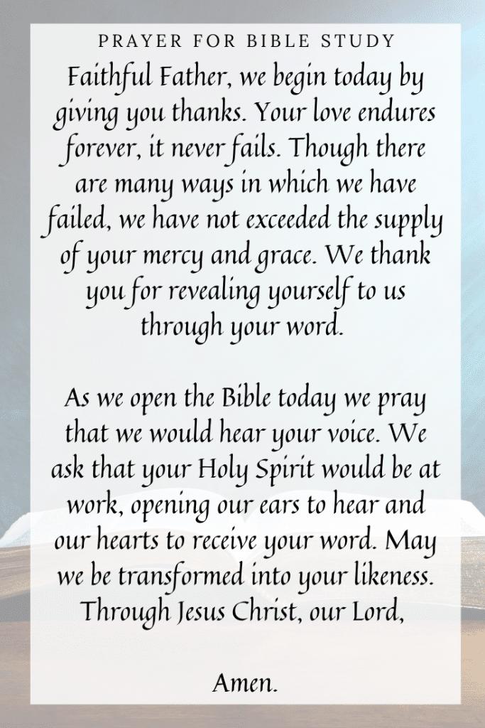 Prayer for Bible study