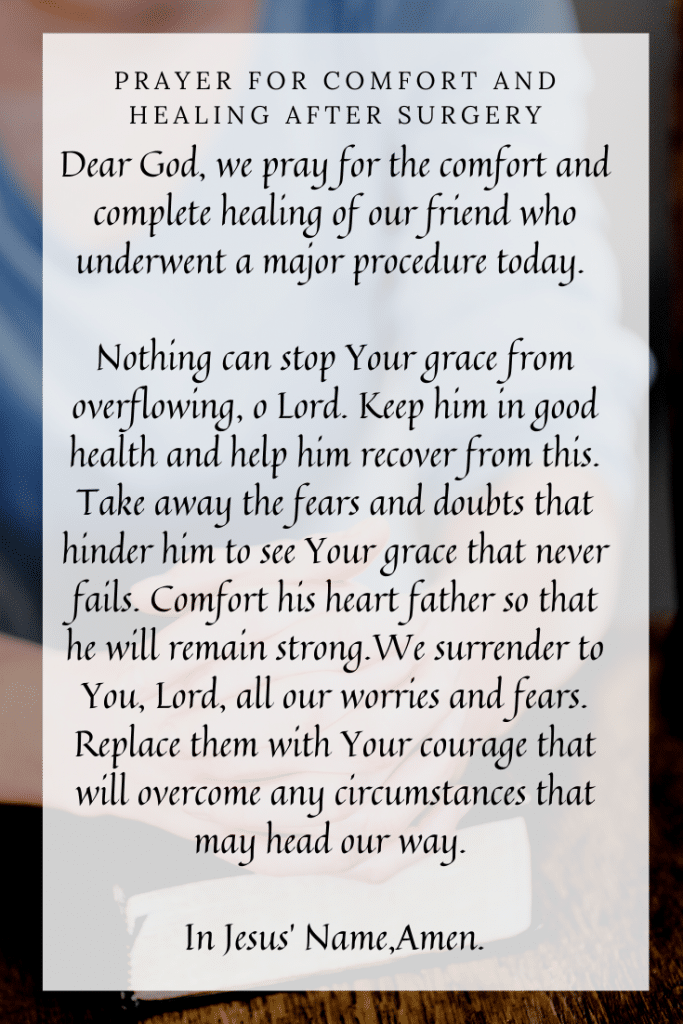 Prayer for Comfort and Healing After Surgery