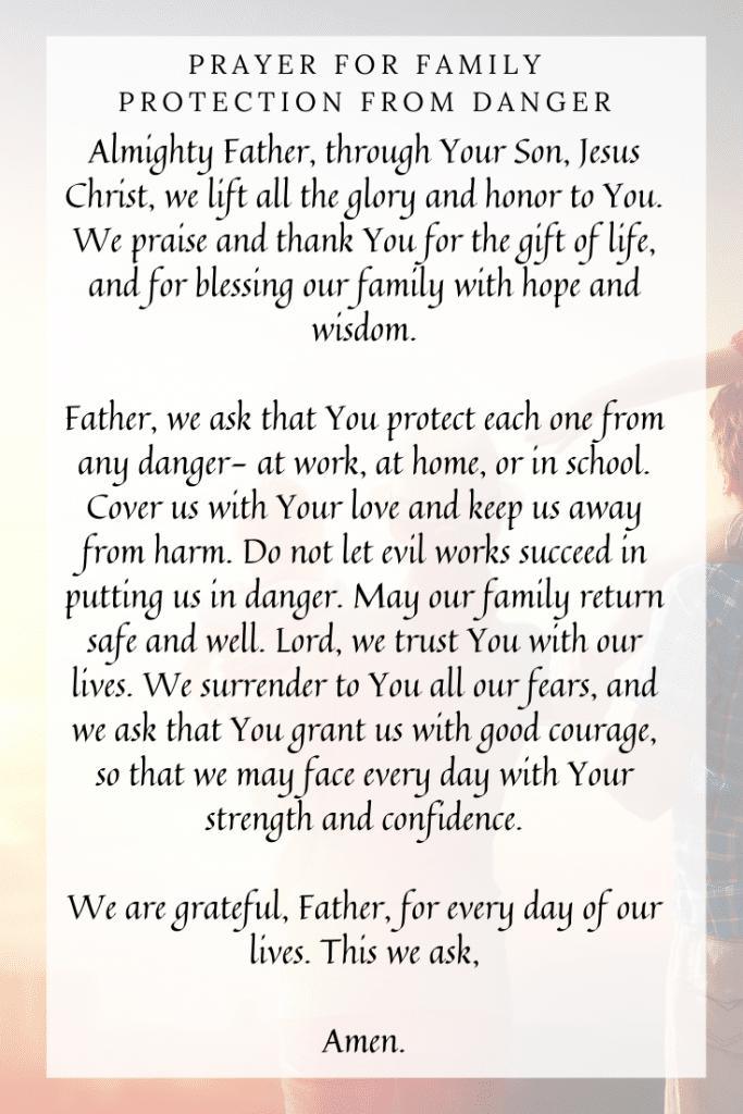 Prayer for Family Protection from Danger