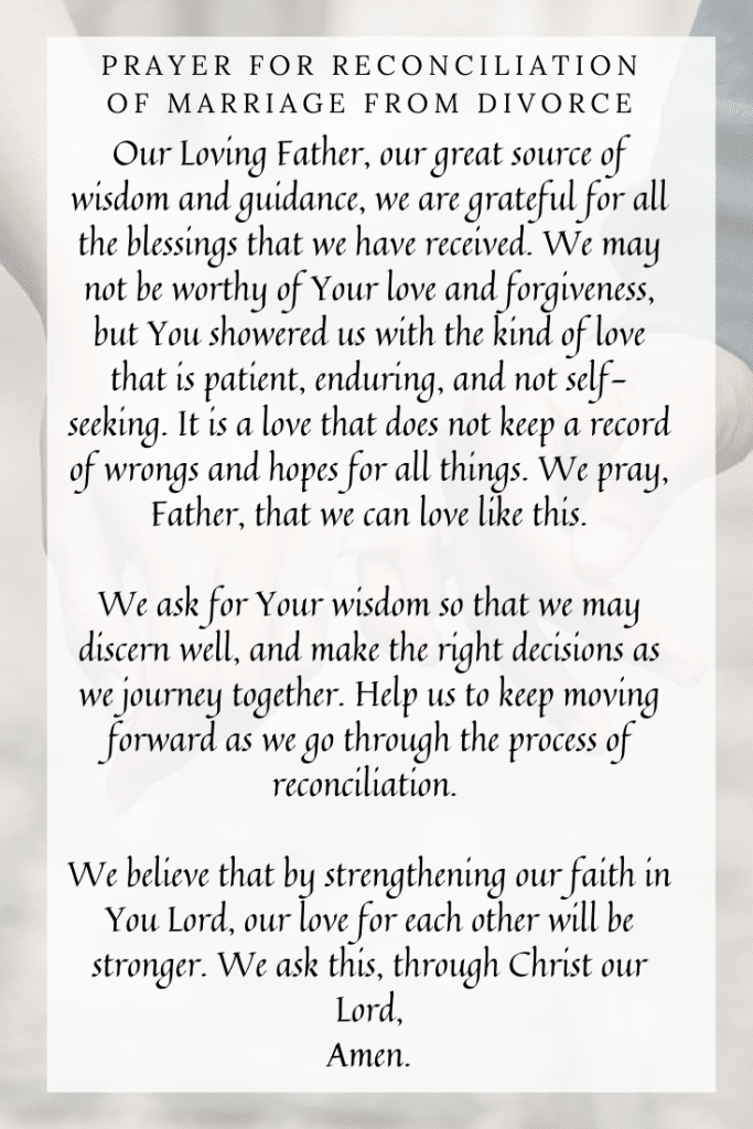 Prayer for Reconciliation of Marriage from Divorce