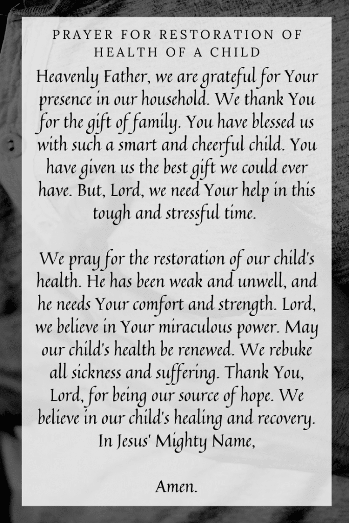 Prayer for Restoration of Health of a Child