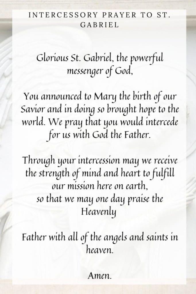 Intercessory Prayer to St. Gabriel