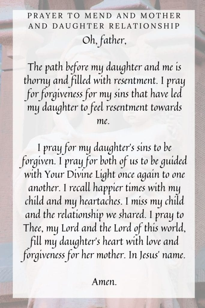 Prayer to Mend and Mother and Daughter Relationship