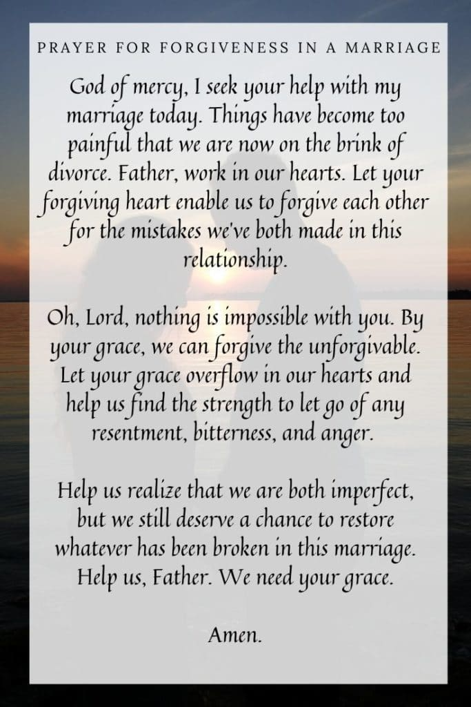 Prayer for Forgiveness in a Marriage