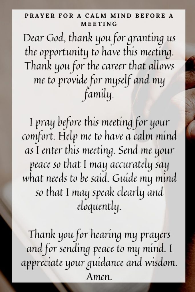 Prayer for a Calm Mind Before a Meeting