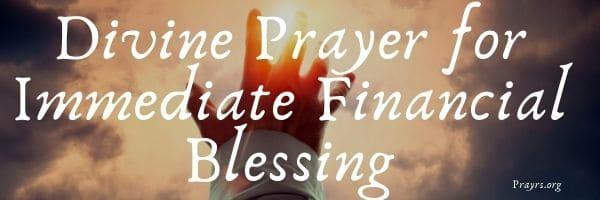 Prayer for Immediate Financial Blessing